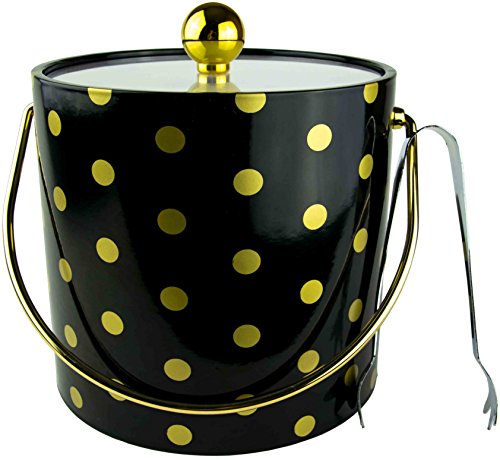 Hand Made In USA Black With Gold Polka Dots Double Walled 3-Quart Insulated Ice Bucket With Bonus Ice Tongs by Mr. Ice Bucket By Stephanie Imports