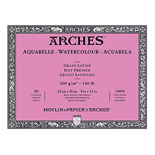 Arches Watercolor Block 140 Pound Hot Press Paper - 9 x 12 Sheets (Arches Watercolor Rough Blocks)