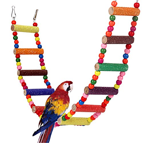 Comsmart Flexible Colorful Ladder Bird Toy, Swing Wooden Rainbow Bridge with Hooks for Pet Parrots Training (12 Steps) (Wood Cockatiel Ladder)
