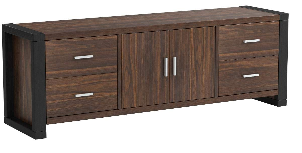 SMART HOME 161483 Modern Tv Stand Entertainment Center Media Console, Dark Walnut & Black Color, Tv Stands for up to 65-inch Tv - Stylish and multi-functional tv stand Four side drawers and a center cabinet with adjustable shelves Material: Sustainable high-grade engineered wood finished in wood-veneer for easy to clean and assemble with all included hardware and instructions provided for assembly - tv-stands, living-room-furniture, living-room - 513oSgbBM L -