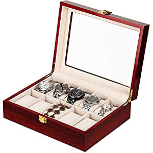 10 Slot Watch Box Jewelry Display Case Wooden Watch Organizer with Glass Display