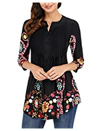 GZBQ Women Floral Tunic Shirt Loose Top Blouse 3/4 Sleeves 8 Colors
