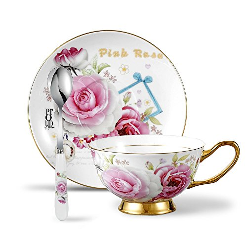 Panbado 3-Piece Bone China Cup and Saucer Set with Spoon for Coffee Tea, 6.8oz/200ml - Pink Rose (Set Cabinet China)