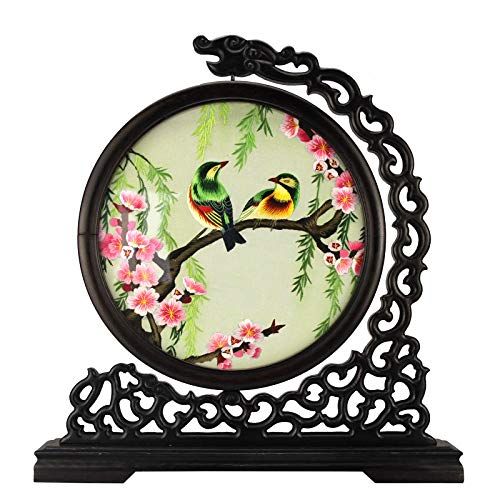 Home Decor Chinese Handicraft Embroidery Suzhou Double-Sided Embroidery Screen Decoration Beautiful Silk Flower & Bird Pattern (13 - Bird Silk Embroidery