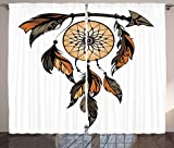 Ambesonne Ethnic Curtains, Native American Dreamcatcher Tribal Spiritual Feathers Image, Living Room Bedroom Window Drapes 2 Panel Set, 108W X 63L Inches, Charcoal Grey Ginger Light Brown Review