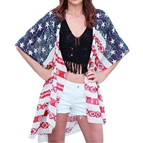 Realdo Women American Flag 3/4 Sleeve Chiffon Cardigan
