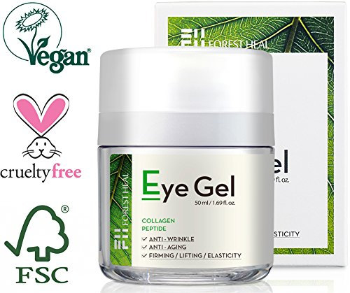 Forest Heal Eye Gel With Collagen Peptides and Niacinamide - Natural Anti Aging, Anti Wrinkle Moisturizer For Under and Around Eyes - 1.69 fl.oz. - Skin Care Problem Solvers