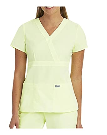 2a23429f39a Image Unavailable. Image not available for. Color: Grey's Anatomy Women's  4153 3 Pocket Mock Wrap Scrub Top- ...