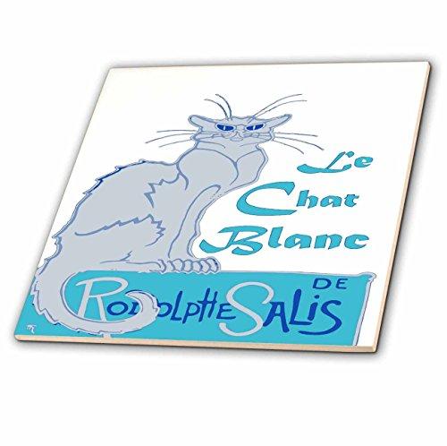 Blanc Ceramic (3dRose Taiche - Vector - Vintage Advertising Parody - Le Chat Blanc Parody Vector - 12 Inch Ceramic Tile (ct_273602_4))