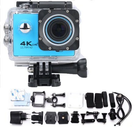GENERIC 4K UHD Sport Action Camera F60 WIFI Waterproof Video Camera 16MP/12MP 1080P 60FPS 2.0 Inch LCD 170 Degree Lens Helmet Cam Marine Diving Recorder DV Camcorder with 2 PCS Batteries - Blue