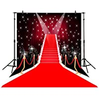 Funnytree 5x7ft Photography Backdrop Tees dazzling red carpet fashion fantasy shiny stars background props photocall photobooth photo studio