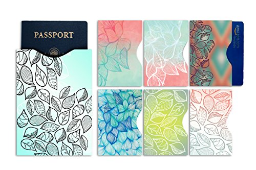 RFID Blocking Sleeves - Color Coded Pack of 7 (1 Passport and 6 Credit Card Protectors)