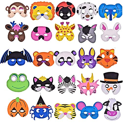 50 Pack of Animals Foam Purim Assorted Masks for Kids Birthday Party Dress Up & Costume Supplies