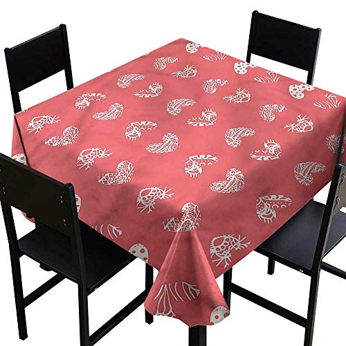 SKDSArts Personalized Tablecloths Coral,Heart Shaped Love Coral Icons,W60 x L60 Square Tablecloth ()