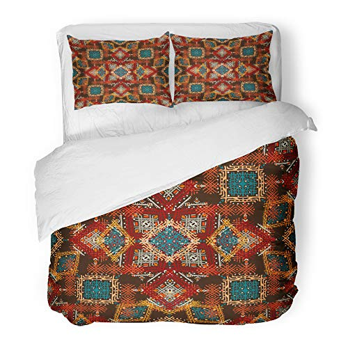 Emvency Decor Duvet Cover Set King Size Colorful Carpet Ethno Ethnic Boho Tribal Repeatable Design Red African 3 Piece Brushed Microfiber Fabric Print Bedding Set Cover -