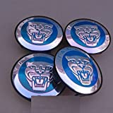 4 x Jaguar S Type X Type XJ8 XK8 XKR Wheel Center Cap Blue & Printed Chrome Logo