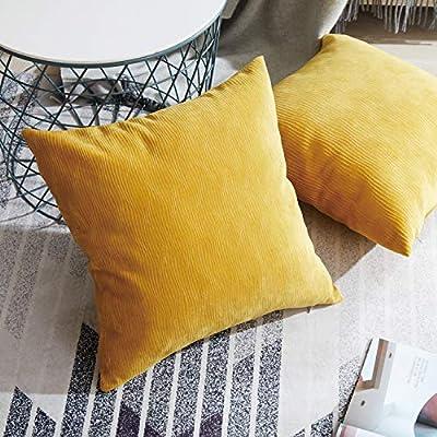 Topfinel Cojines Exterior de Terciopelo 2 Fundas de Cojines Decoracion con Ribete Almohada para Sofas Camas sillas,Amarillo 45x45cm