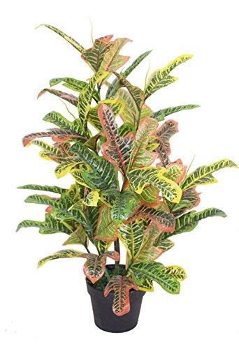 Ficus Tropical Tree (AMERIQUE Gorgeous 4' Tropical Codiaeum Artificial Silk Plant, with Nursery Plastic Pot, Feel Real Technology, Super Quality)