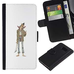 Billetera de Cuero Caso Titular de la tarjeta Carcasa Funda para Samsung Galaxy S6 SM-G920 / Evil Character Sword Art Drawing Smile / STRONG