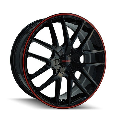 Touren TR60 3260 Wheel with Black Finish w/ Red Ring