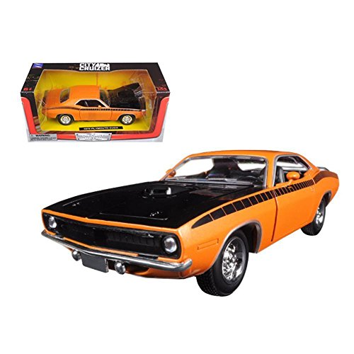 New Ray 71875 1970 Plymouth Cuda Orange with Black 1/24 Diecast Model ()
