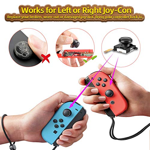 Joycon Joystick Replacements for Nintendo Switch Joy Con, (6 Pack) Left and Right Controller Thumbsticks Replacements, Include Full 3D Analog Stick Repair Tool Kit
