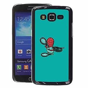 A-type Arte & diseño plástico duro Fundas Cover Cubre Hard Case Cover para Samsung Galaxy Grand 2 (Cute Cartoon Character Teal Kids Child)