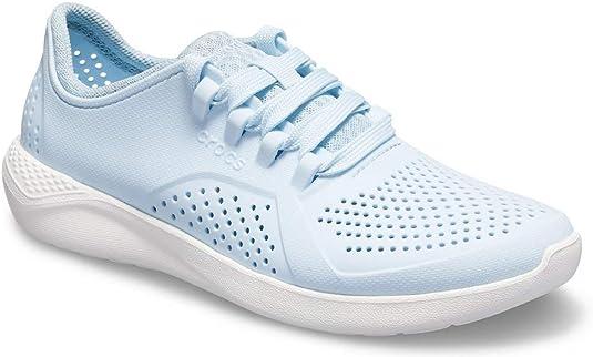 Crocs Women's LiteRide Pacer Sneaker, Mineral Blue/White, 11 M US