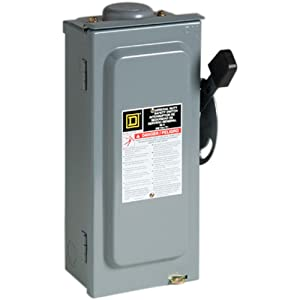 Square D by Schneider Electric D222NRBCP 60-Amp 240-Volt Two-Pole Outdoor General Duty Fusible Safety Switch with Neutral