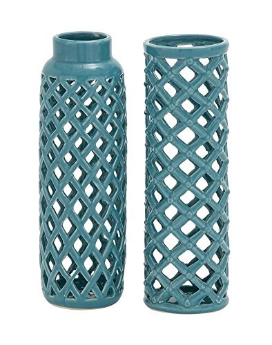 Lattice Vase (Deco 79 92569 Ceramic Vase, 3