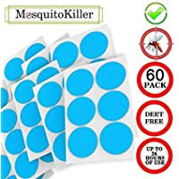 Natural Mosquito Repellent Patches, Deet-Free, for Kids and Adults, with Pure Essential Oils, Non-Toxic, Hypoallergenic and Long Lasting Bug Protection, 60 Stickers, Blue
