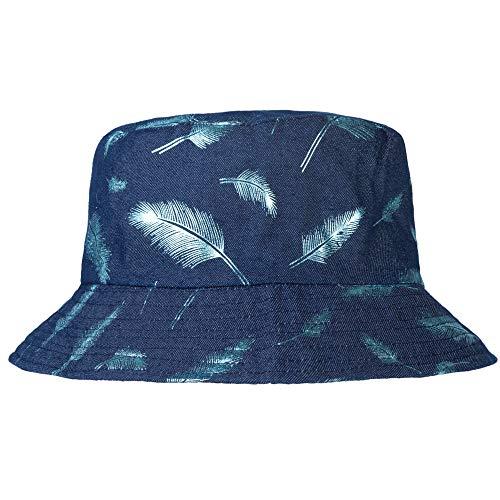 ZLYC Unisex Cute Print Bucket Hat Summer Fisherman Cap (Feather Navy)