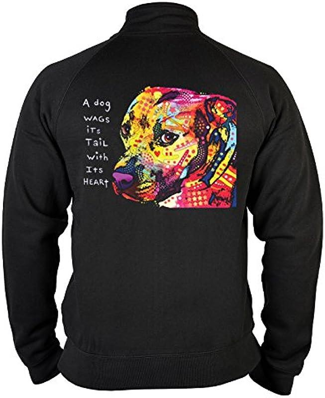 Męski sweter Zip z motywem: Gratitude Pitbull — motyw psa — prezent — sweter z zamkiem błyskawicznym, sweter z zamkiem błyskawicznym — kolor: czarny: Odzież