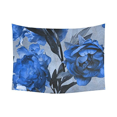 Floral Vintage Tapestry (Roses Wall Art Home Decor, Vintage Floral Blue Tapestry Wall Hanging 60 X 80 Inches)