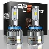 BPS Lighting B2 LED Headlight Bulbs Kit w/Clear Arc Beam 100W 16000LM 6000K - 6500K White CSP LED Headlight Conversion for Replace Halogen Bulb Headlights - (2pcs/set) (H11)