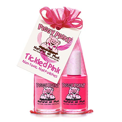 Piggy Paint [2 Color Gift Set] Non-toxic Girls Nail Polish Kit - Safe for Kids - Tickled Pink (Pink, Bright Pink)