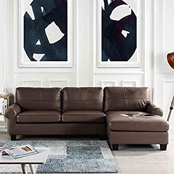 Amazon.com: Black Leather Sectional Sofa Couch with Chaise ...