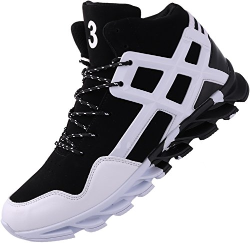 JOOMRA Men's Tennis Shoes Mid High Top Ankle Leather Lace up Basketball Young Man Casual Winter Autumn Sport Footwear Jogging Fashion Sneakers White 10 D(M) -