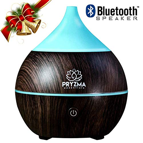 Pryzma Essentials Bluetooth Speaker Aromatherapy Essential Oil Diffuser, 7 Color Changing LED Night Light, 200ml Cool Mist Ultrasonic Humidifier, Wood Grain and Waterless Auto Shut-off. Yoga Spa Home