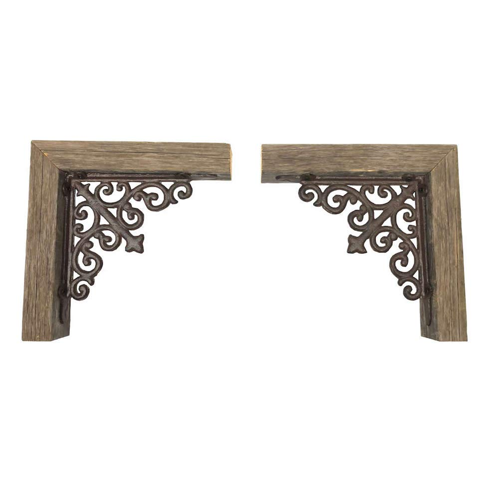 BarnwoodUSA   Set of 2 Farmhouse Corbels with Metal Brackets for Door Way Corners, Counter Top, Shelves   100% Up-Cycled Reclaimed Wood