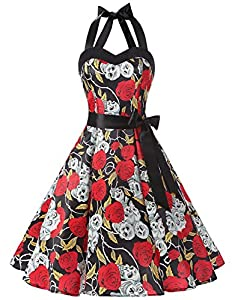 DRESSTELLS Vintage 1950s Rockabilly Polka Dots Audrey Dress Retro Cocktail Dress