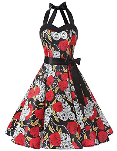 (DRESSTELLS 50s Retro Halter Rockabilly Polka Dots Audrey Dress Cocktail Dress Black Skull Dot)