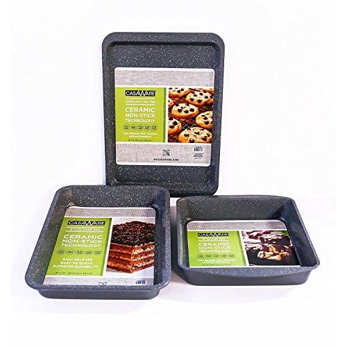 casaWare Silver Granite 3pc Bakeware Set with Brownie Pan