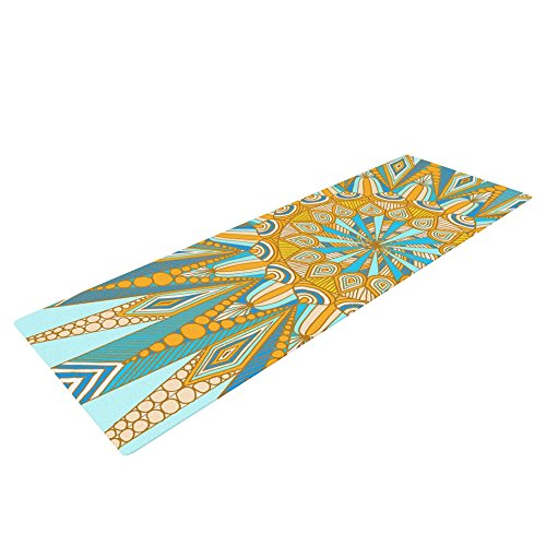 KESS InHouse Art Love Passion Here Comes The Sun Exercise Yoga Mat, Blue Yellow, 72″ by 24″ For Sale