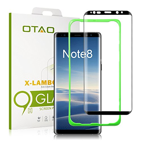 Galaxy Note 8 Tempered Glass Screen Protector (Full Screen Coverage) , [Tray Installation] OTAO Double Strong 3D Curved Screen Protector for Samsung Galaxy Note 8