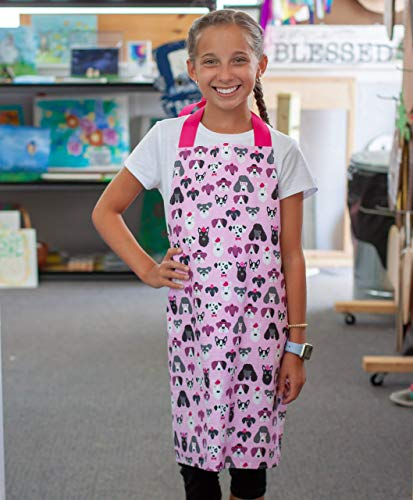 Handmade Pink Dogs Girl Gift Apron for Crafts Art or Kitchen from Sara Sews, Inc.