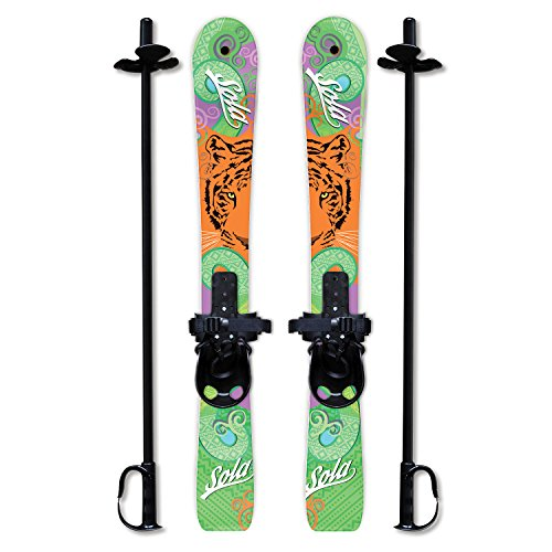 Poles Boots Skis (Sola Winnter Sports Kid's Beginner Snow Skis and Poles with Bindings Age 2-4 (Tiger))