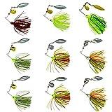 Fishing Spinner Baits Kit - Hard Spinner Lures Multicolor Buzzbait Swimbaits Pike Bass 0.64oz (9pcs Spinner Baits)