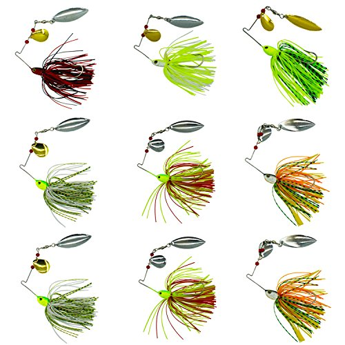 Bass Spinning Bait - Fishing Spinner Baits Kit - Hard Spinner Lures Multicolor Buzzbait Swimbaits Pike Bass 0.64oz (9pcs Spinner Baits)