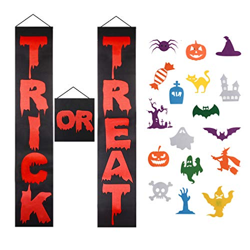 FunPa 3PCS Halloween Banner Decor Felt Porch Sign DIY Door Banner with 16 Pcs Ornaments Trick or Treat Hanging Porch Banner for Kids Gifts Home Indoor Outdoor Halloween Party (Black & red) -